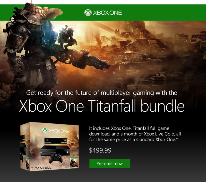Get ready for the future of multiplayer gaming with the Xbox One Titanfall Bundle. Reserve yours today